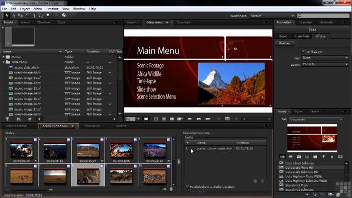Авторинг в программе Adobe Encore